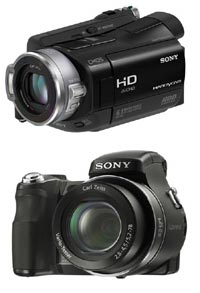 Sony digital video and photo cameras